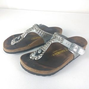 Birkenstock Studed Gizeh Sandal Silver Size 38